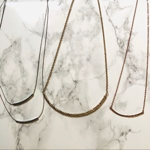 Set of 3 Bar Necklaces in Various Colors